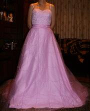 Новое свадебное платье со шлейфом (розовое)