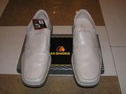 Тёмно-молочные летние туфли,  разм. 46,  натуральная кожа,  прошитые,  ФРГ