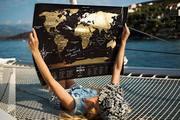 Карта мира со стирающимся слоем чёрная новая премиум